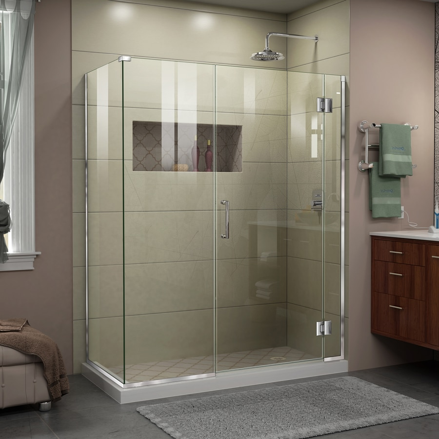 Dreamline Unidoor X 72 In H X 48 In W Frameless Hinged Chrome Shower Door Clear Glass In The Shower Doors Department At Lowes Com