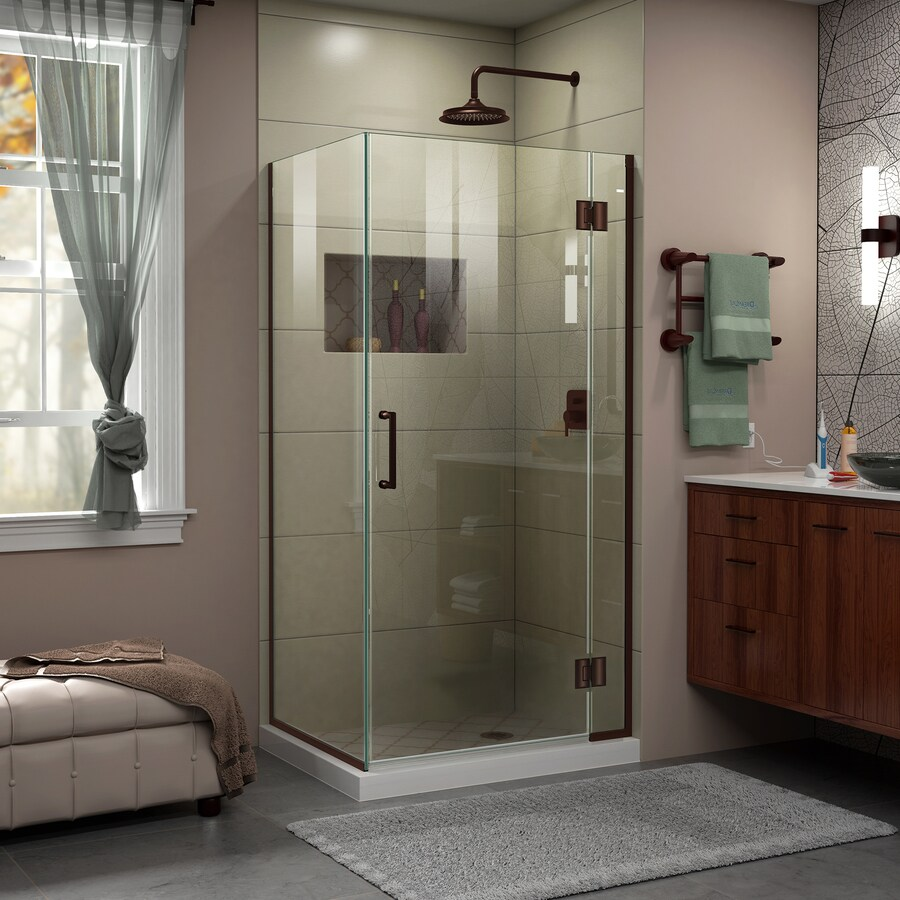 DreamLine Unidoor-X 34.3750-in to 34.3750-in Frameless Oil Rubbed Bronze Hinged Shower Door
