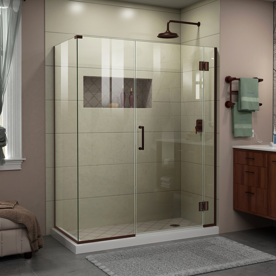 DreamLine Unidoor-X 57.5000-in to 57.5000-in Frameless Oil Rubbed Bronze Hinged Shower Door