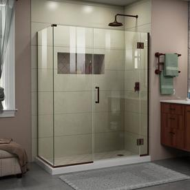 dreamline unidoorx 58in to 58in frameless oil rubbed bronze hinged