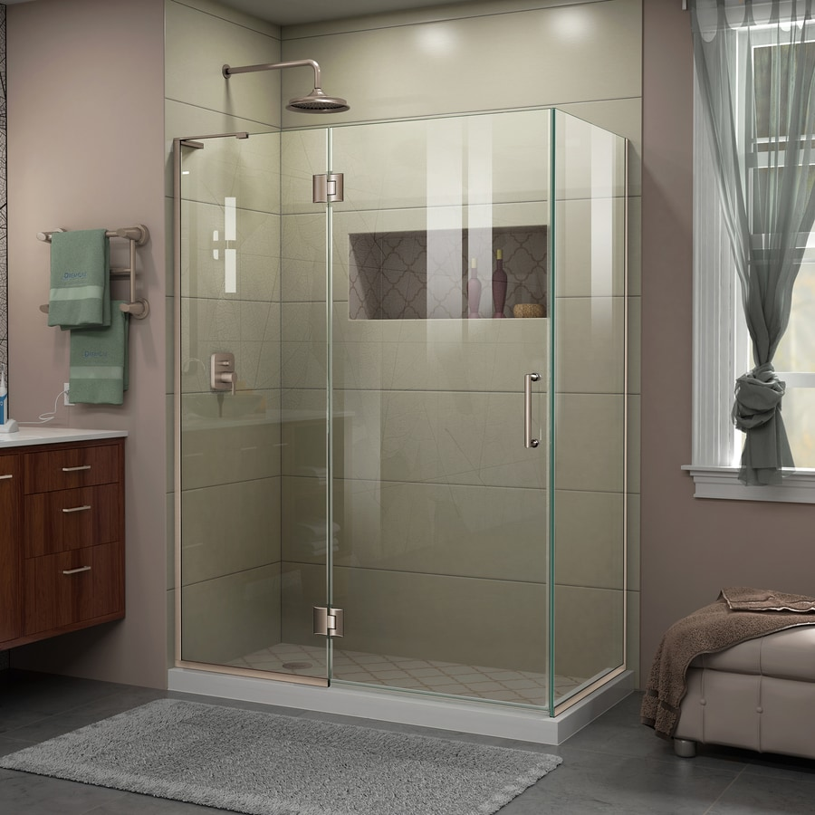 DreamLine Unidoor-X 47.375-in to 47.375-in Frameless Brushed Nickel Hinged Shower Door