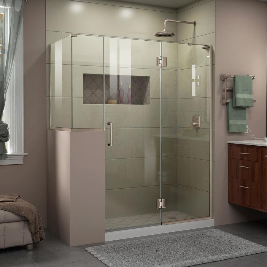 DreamLine Unidoor-X 60-in to 60-in W Frameless Brushed Nickel Hinged Shower Door