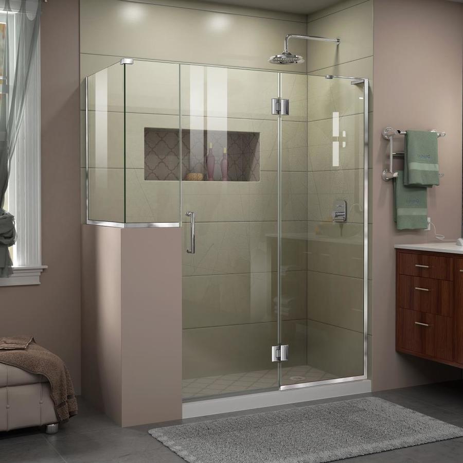 DreamLine Unidoor-X 60-in to 60-in W Frameless Chrome Hinged Shower Door