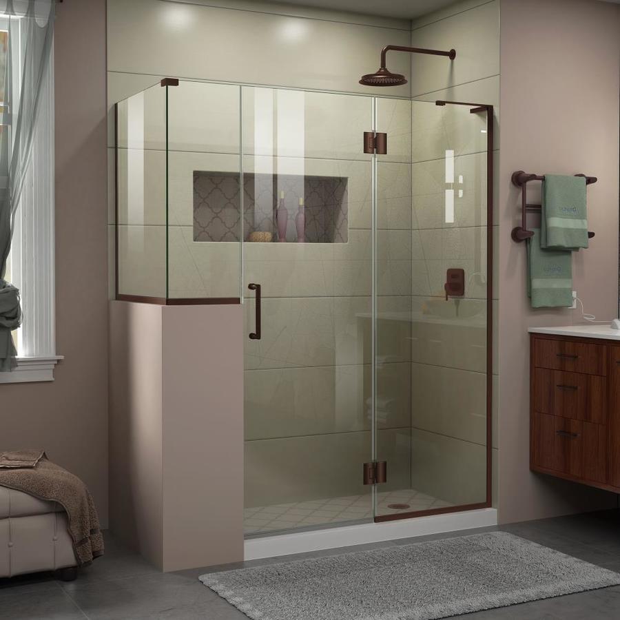 DreamLine Unidoor-X 60-in to 60-in W Frameless Oil-Rubbed Bronze Hinged Shower Door