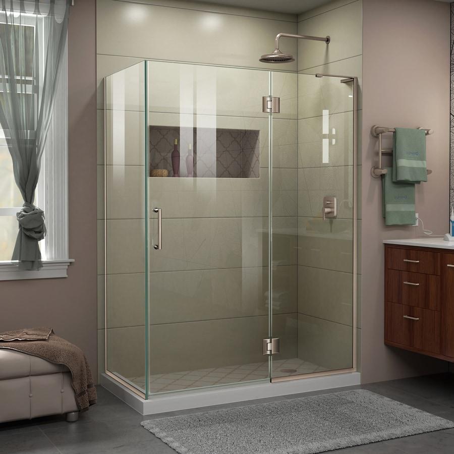 DreamLine Unidoor-X 48.375-in to 48.375-in W Frameless Brushed Nickel Hinged Shower Door