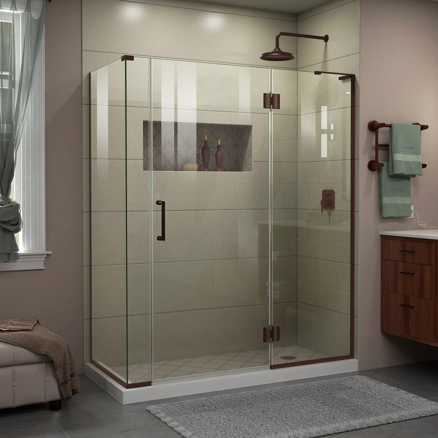 DreamLine Unidoor-X 57.5-in to 57.5-in Frameless Oil-Rubbed Bronze Hinged Shower Door