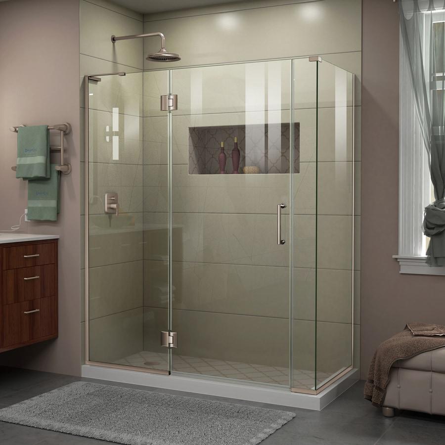 DreamLine Unidoor-X 57.5-in to 57.5-in W Frameless Brushed Nickel Hinged Shower Door