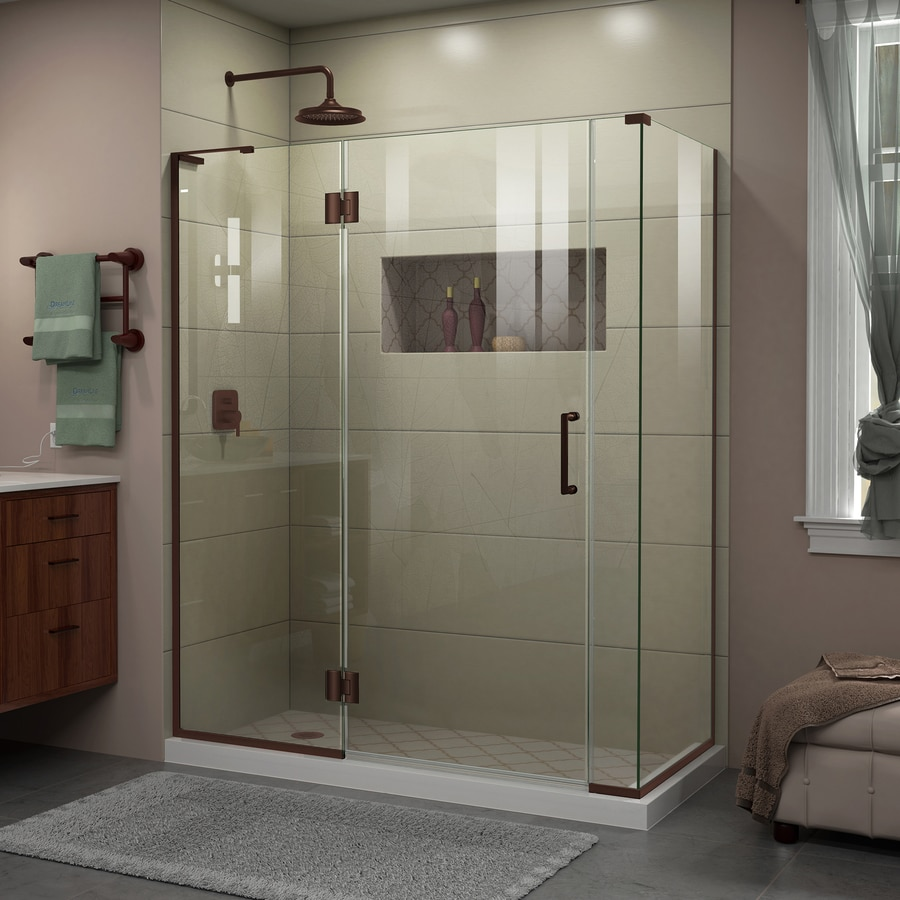 DreamLine Unidoor-X 57.5-in to 57.5-in Frameless Oil-Rubbed Bronze Hinged Shower Door
