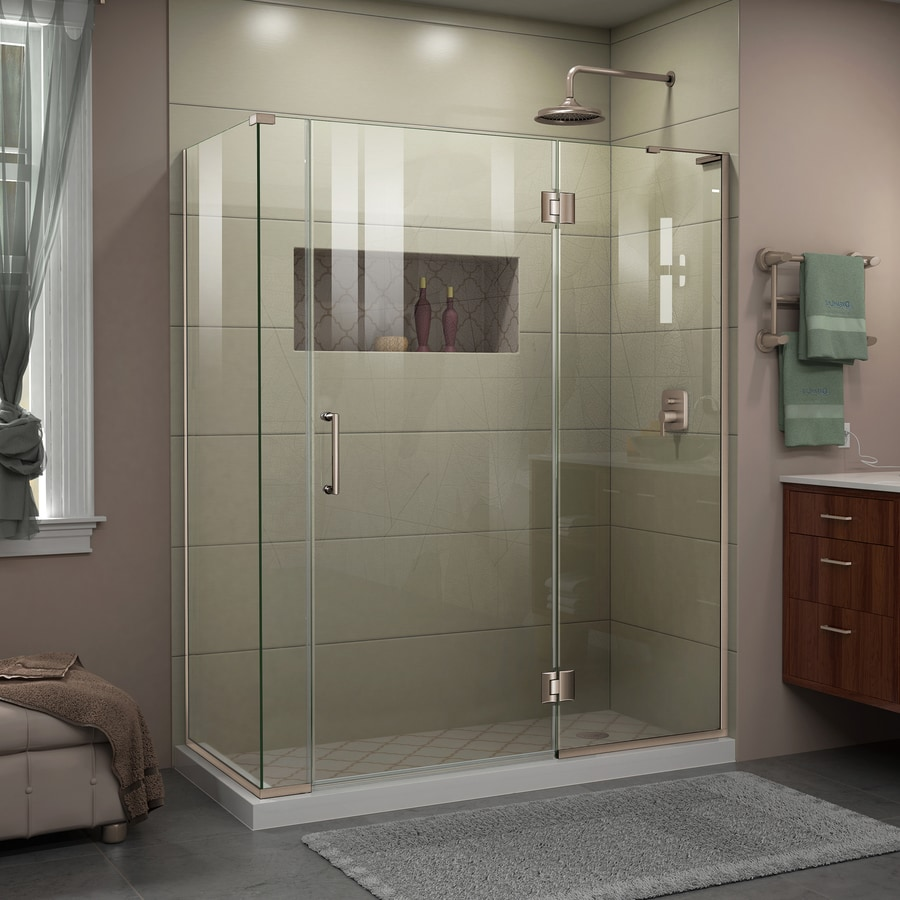 DreamLine Unidoor-X 58.5000-in to 58.5000-in Frameless Brushed Nickel Hinged Shower Door
