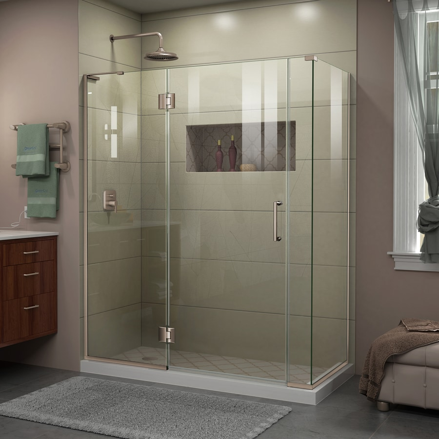 DreamLine Unidoor-X 58.5-in to 58.5-in W Frameless Brushed Nickel Hinged Shower Door