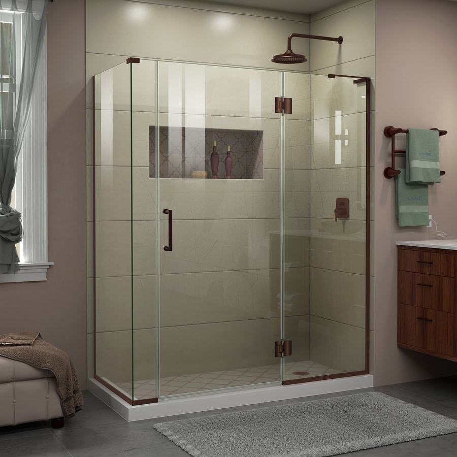 DreamLine Unidoor-X 59-in to 59-in W Frameless Oil-Rubbed Bronze Hinged Shower Door