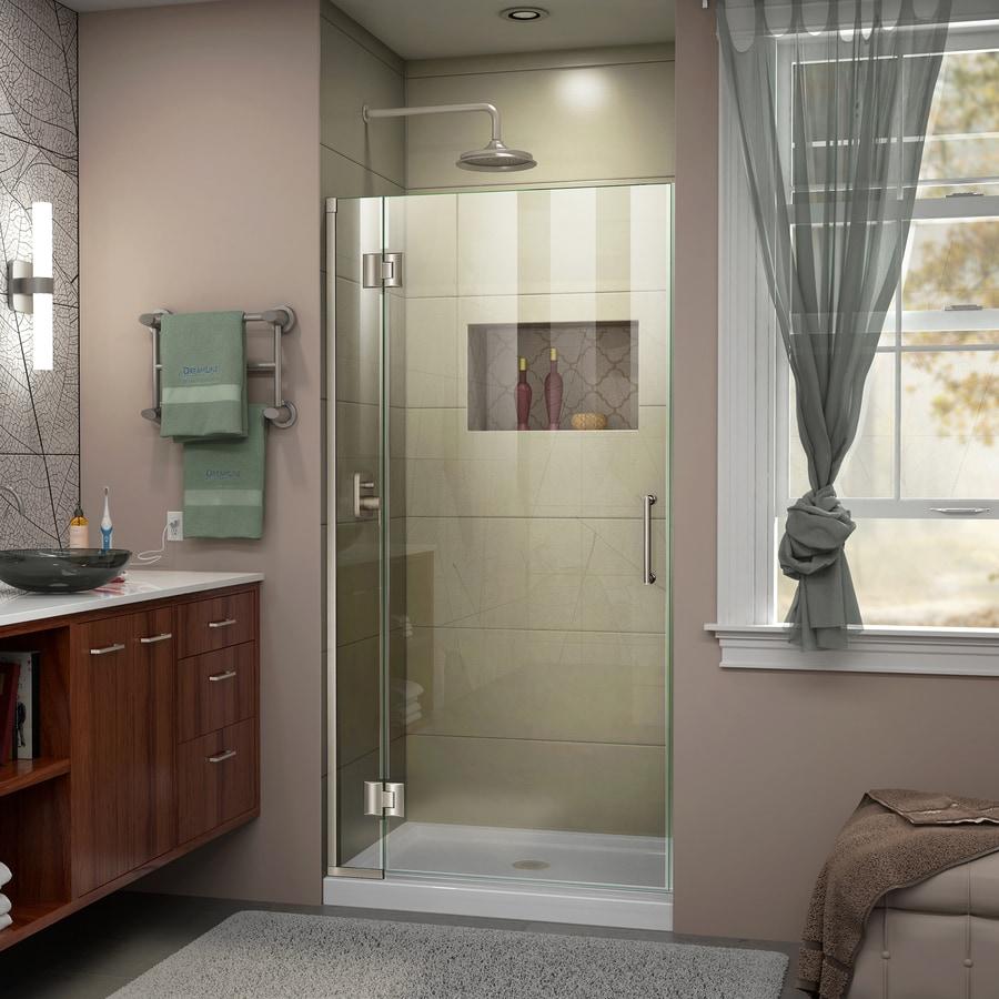 DreamLine Unidoor-X 30-in to 30-in W Frameless Brushed Nickel Hinged Shower Door
