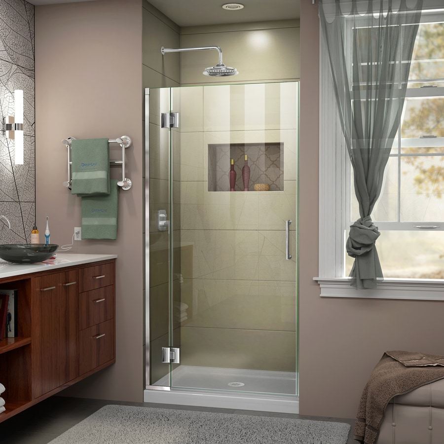 DreamLine Unidoor-X 34-in to 34-in W Frameless Chrome Hinged Shower Door