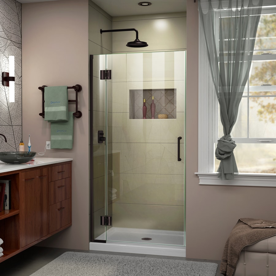 DreamLine Unidoor-X 34-in to 34-in Frameless Oil Rubbed Bronze Hinged Shower Door