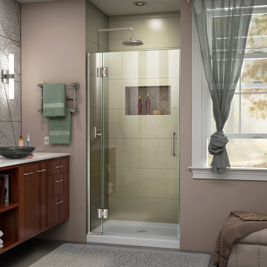 DreamLine Unidoor-X 35-in to 35-in W Frameless Brushed Nickel Hinged Shower Door