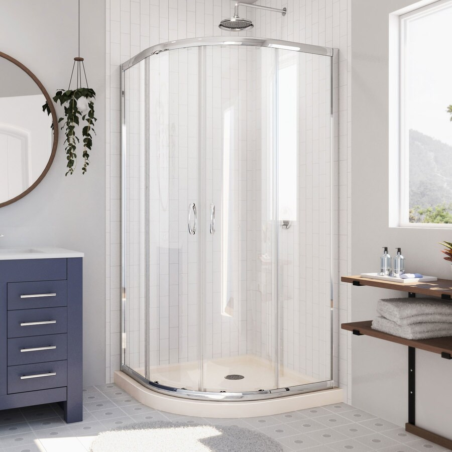 DreamLine Prime Chrome/Biscuit Acrylic Floor Round 2-Piece Corner Shower Kit (Actual: 74.75-in x 33-in x 33-in)