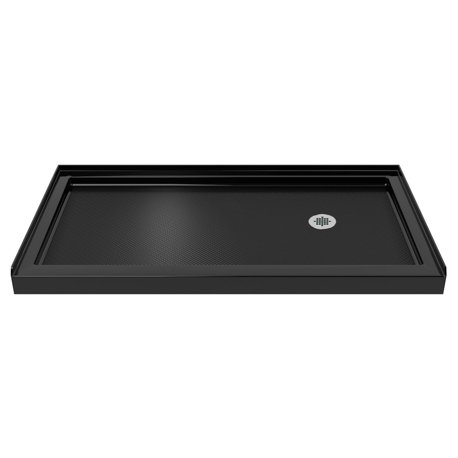 dreamline slimline black acrylic shower base 36 in w x 60 in l with right drain at. Black Bedroom Furniture Sets. Home Design Ideas