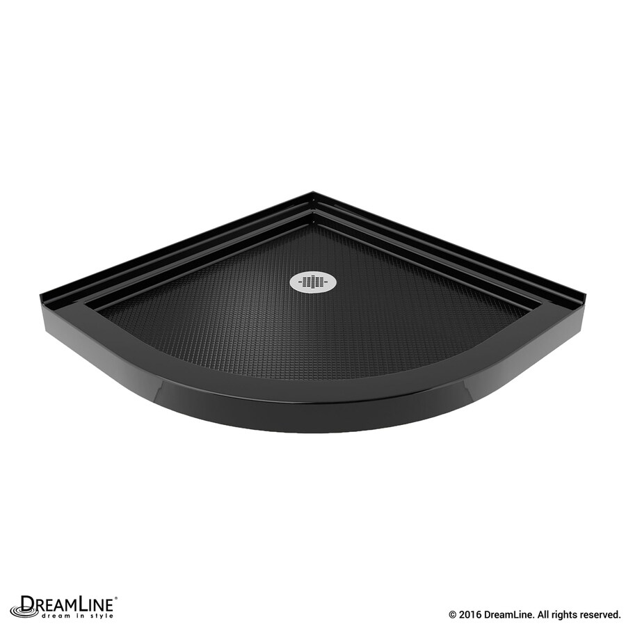 DreamLine Slimline 33-in L x 33-in W Black Acrylic Round Corner Shower Base