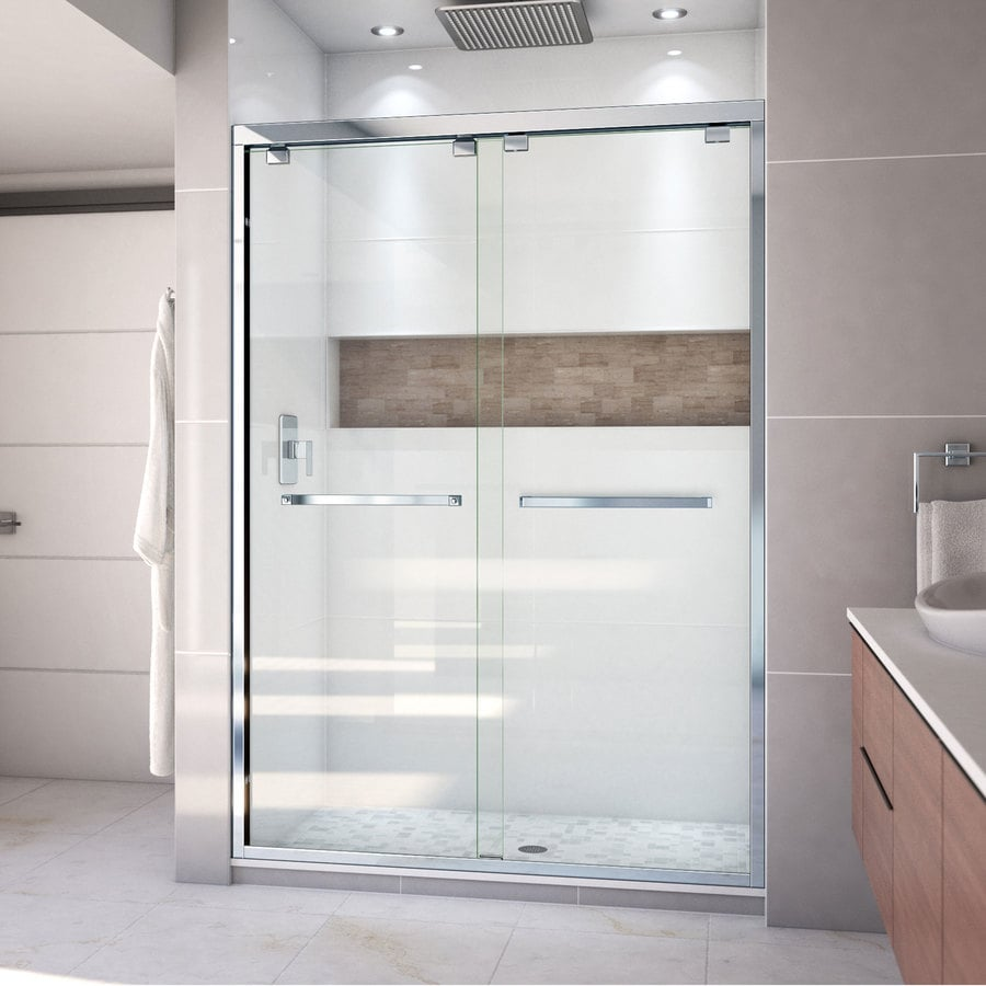 DreamLine Encore 50-in to 54-in W Frameless Chrome Sliding Shower Door