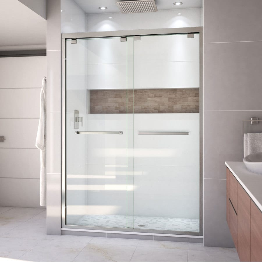 Bathroom shower doors frameless - Dreamline Encore 56 In To 60 In Frameless Brushed Nickel Sliding Shower Door