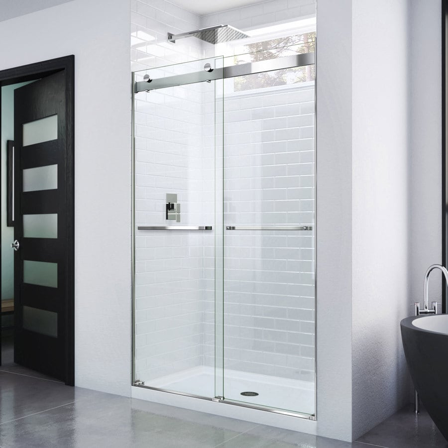 shop dreamline essence 44 in to 48 in frameless chrome sliding shower door at. Black Bedroom Furniture Sets. Home Design Ideas