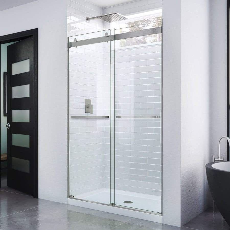 Shop shower doors at lowes dreamline essence 44 in to 48 in frameless sliding shower door planetlyrics Image collections