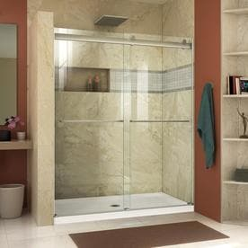 Shop shower doors at lowes dreamline essence 44 in to 48 in frameless sliding shower door planetlyrics