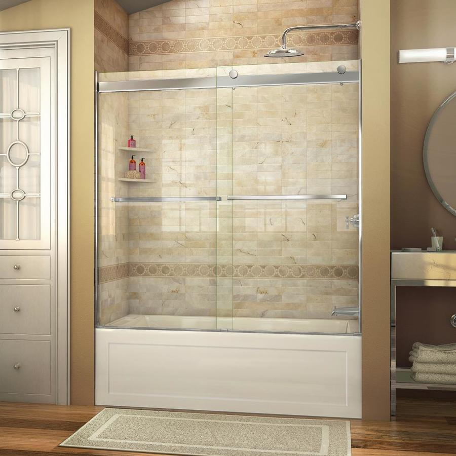 Shop DreamLine Essence 60-in W x 60-in H Frameless Bathtub Door at ...