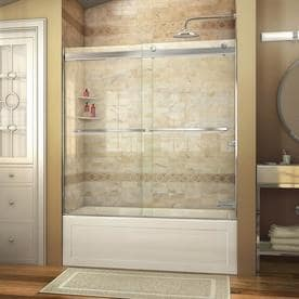 Shop shower doors at lowes dreamline essence 56 in to 60 in w frameless sliding shower door planetlyrics
