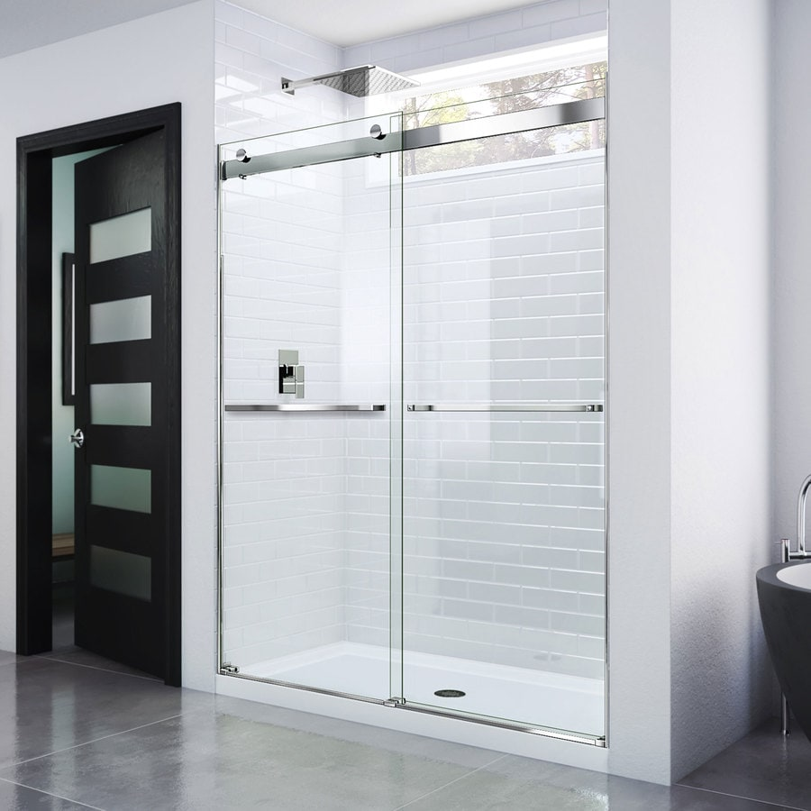 Bathroom shower doors frameless - Dreamline Essence 56 In To 60 In Frameless Chrome Sliding Shower Door