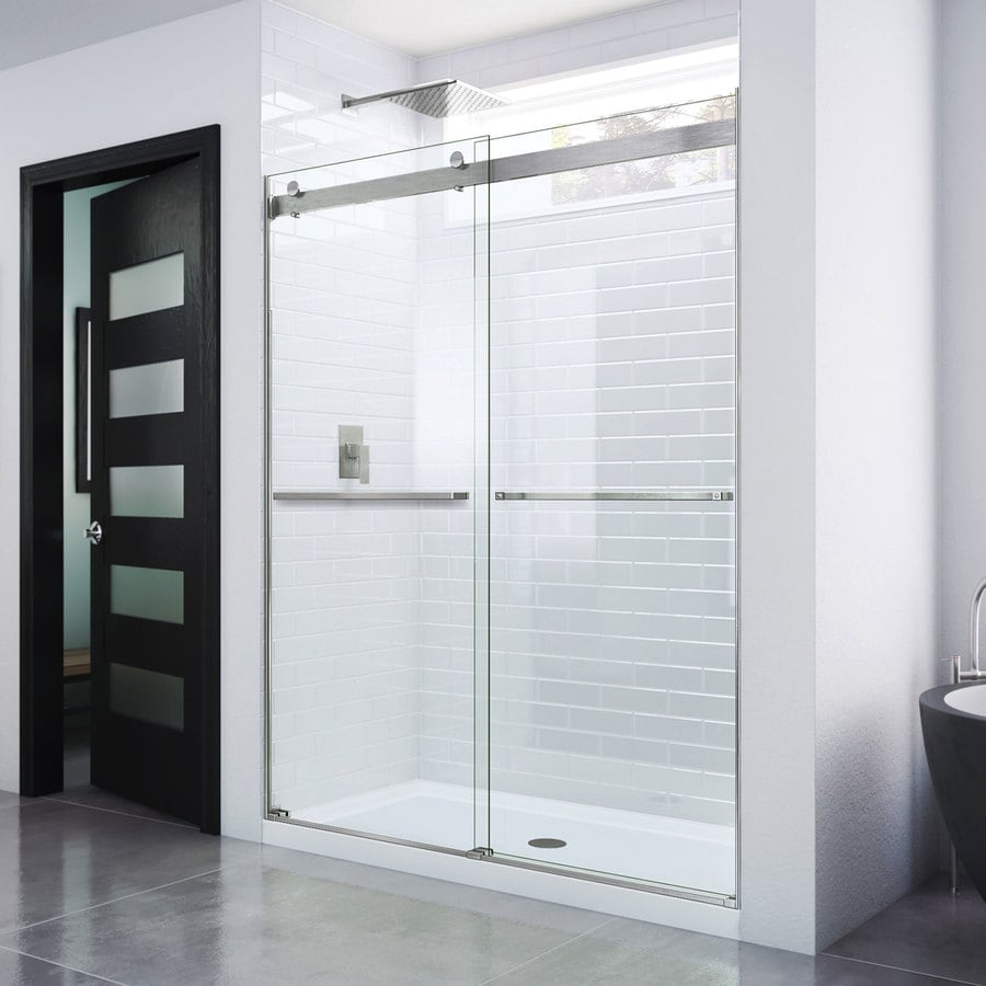 Bathroom shower doors frameless - Dreamline Essence 44 In To 48 In W Frameless Brushed Nickel Sliding Shower Door