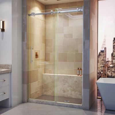 Bathroom Sliding Glass Shower Doors.Enigma Air 44 In To 48 In W Frameless Bypass Sliding Brushed Stainless Steel Shower Door