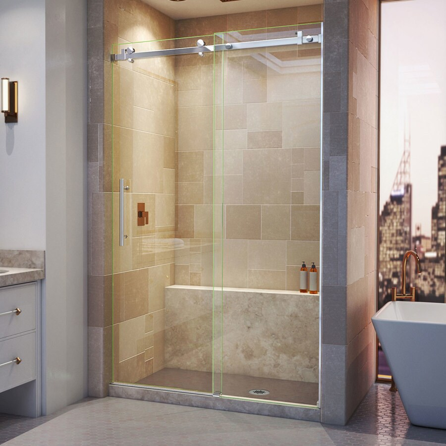 DreamLine Enigma Air 44-in to 48-in W Frameless Polished Stainless Steel Sliding Shower Door