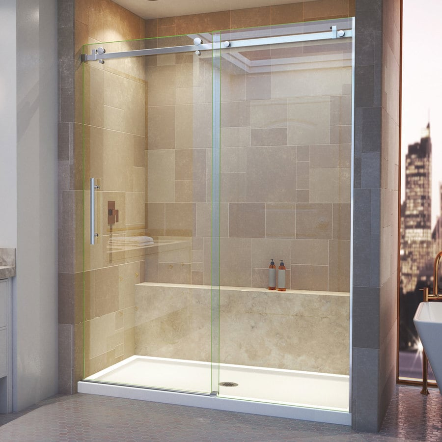 DreamLine Enigma Air 56-in to 60-in W Frameless Brushed Stainless Steel Sliding Shower Door