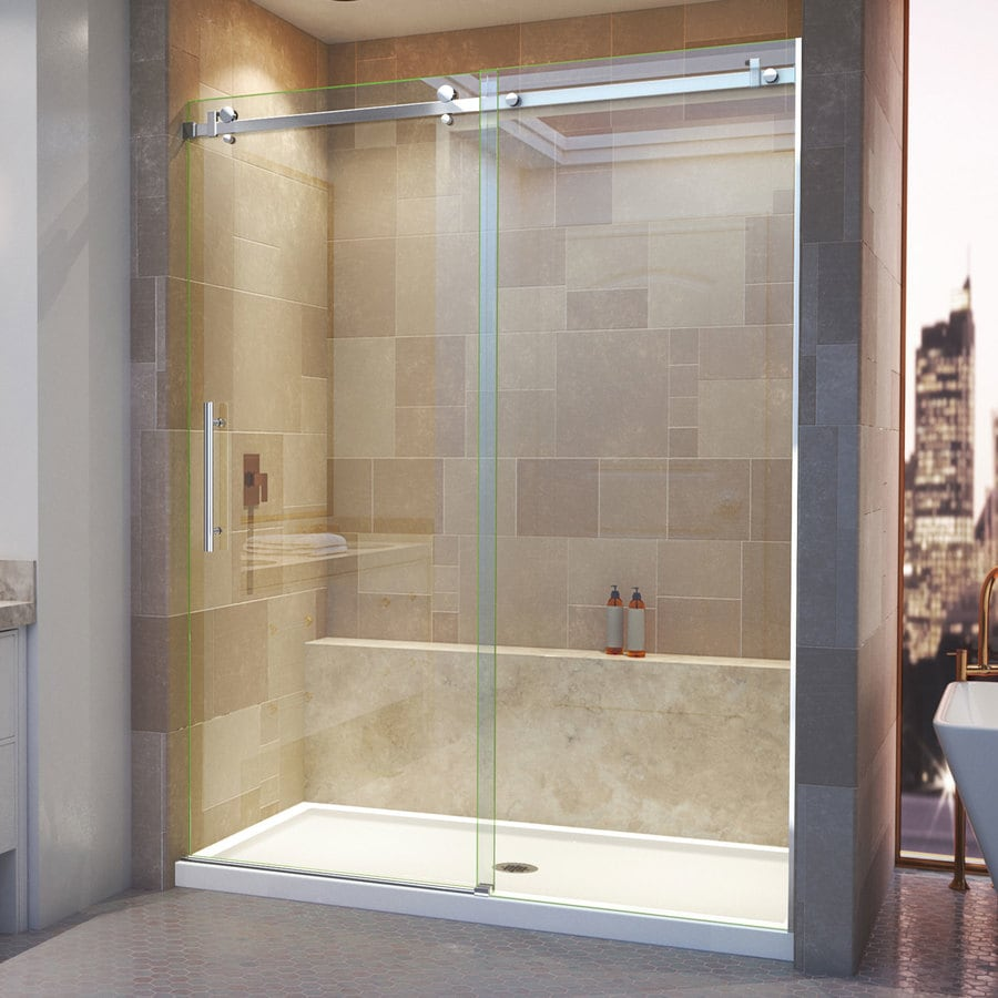 DreamLine Enigma Air 56-in to 60-in W Frameless Polished Stainless Steel Sliding Shower Door
