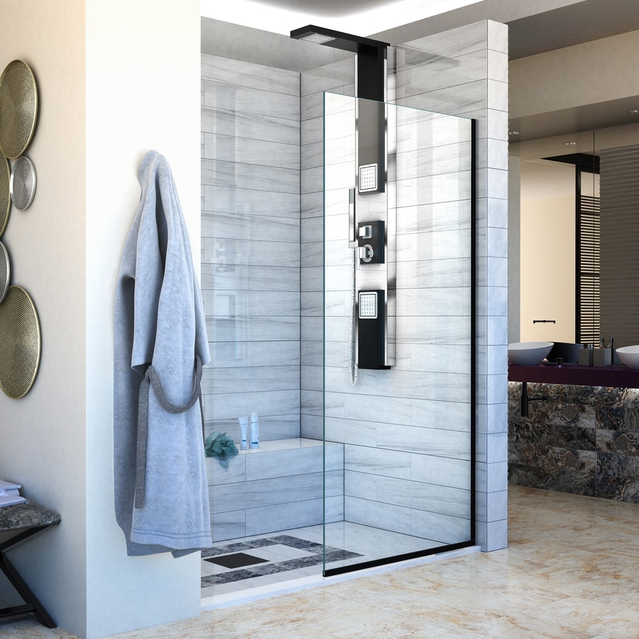 Shop DreamLine Linea 34-in to 34-in W Satin Black Fixed Shower Door ...