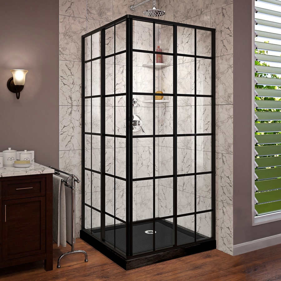 DreamLine French Corner Black Acrylic Floor Square 2 Piece Corner Shower Kit   Actual Shop DreamLine French Corner Black Acrylic Floor Square 2 Piece  . Lowes Corner Shower Kit. Home Design Ideas