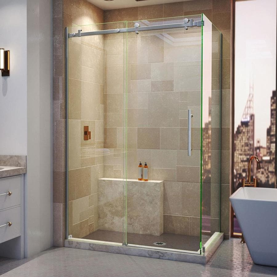 DreamLine Enigma Air Frameless Brushed Stainless Steel Sliding Shower Door