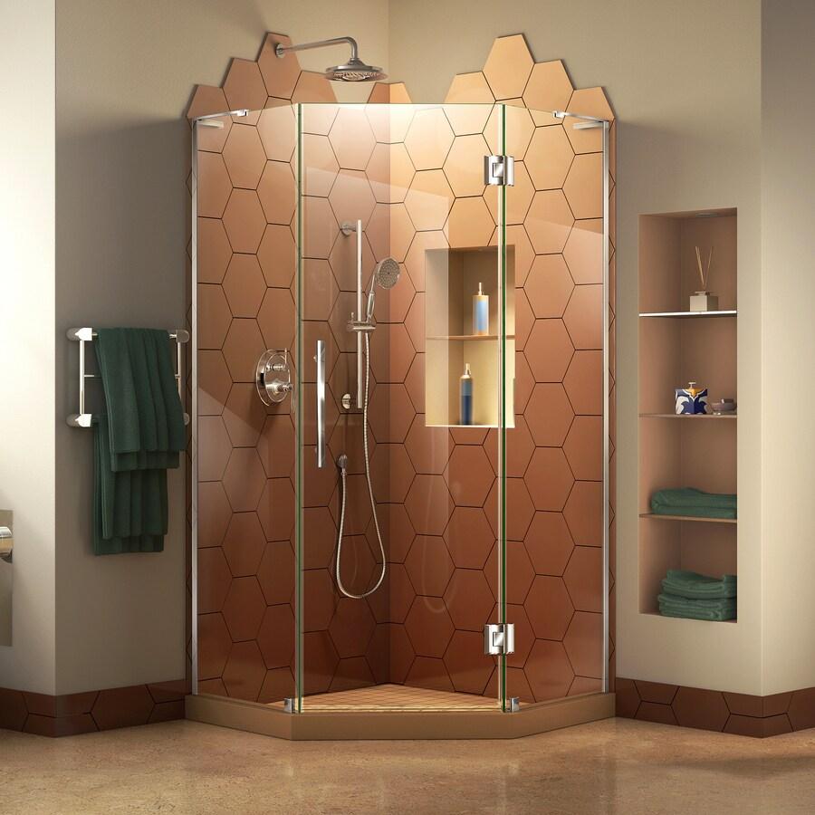 DreamLine Prism Plus 34-in to 34-in W Frameless Chrome Hinged Shower Door