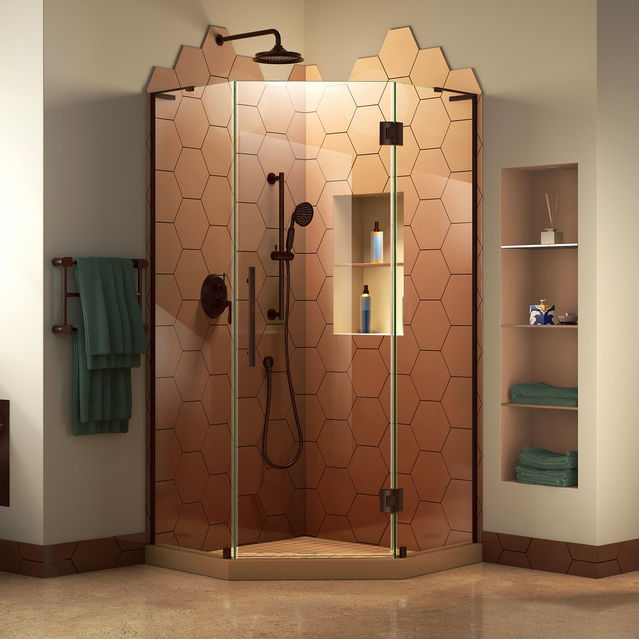 DreamLine Prism Plus 34-in to 34-in W Frameless Oil Rubbed Bronze Hinged Shower Door