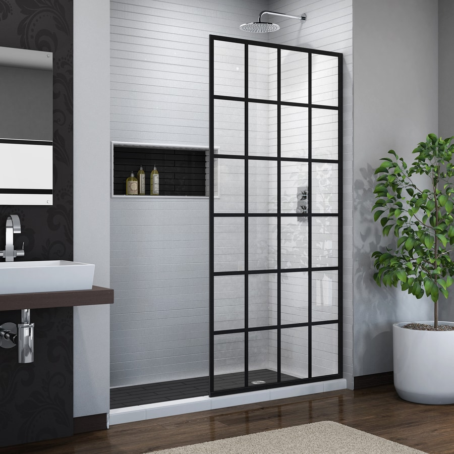 DreamLine French Linea 34-in to 34-in W Frameless Satin Black Fixed Shower Door