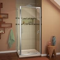 DreamLine Flex Hardware : Chrome; Base Color: Biscuit Acrylic Floor Square  2 Piece