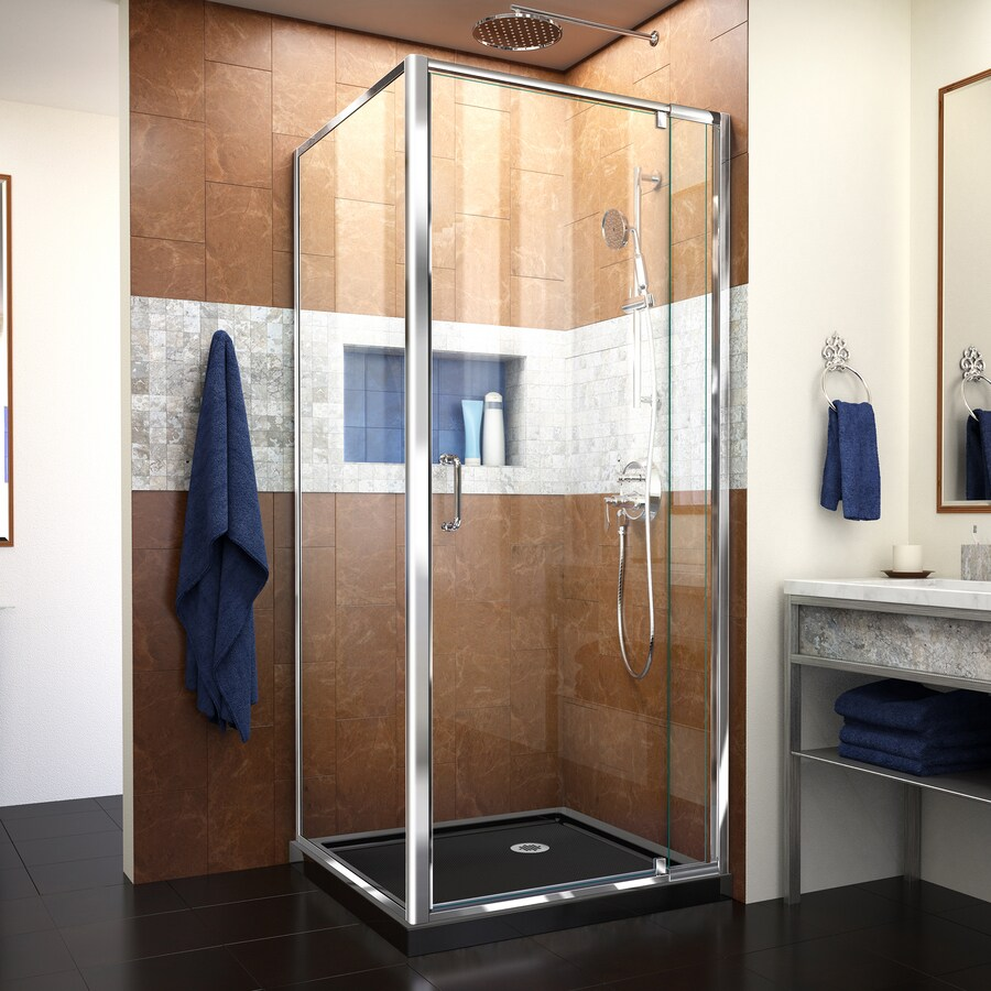 DreamLine Flex Chrome Black Acrylic Floor Square 2 Piece Corner Shower Kit   ActualShop DreamLine Flex Chrome Black Acrylic Floor Square 2 Piece  . Lowes Corner Shower Kit. Home Design Ideas