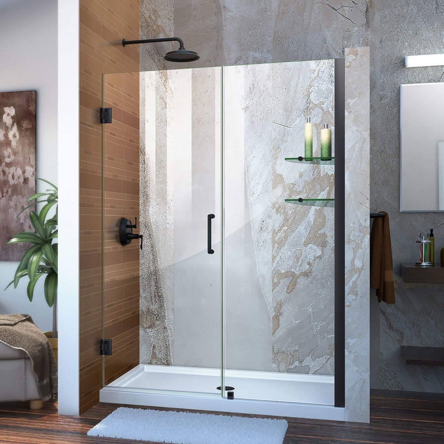DreamLine Unidoor 53-in to 54-in W Frameless Satin Black Hinged Shower Door