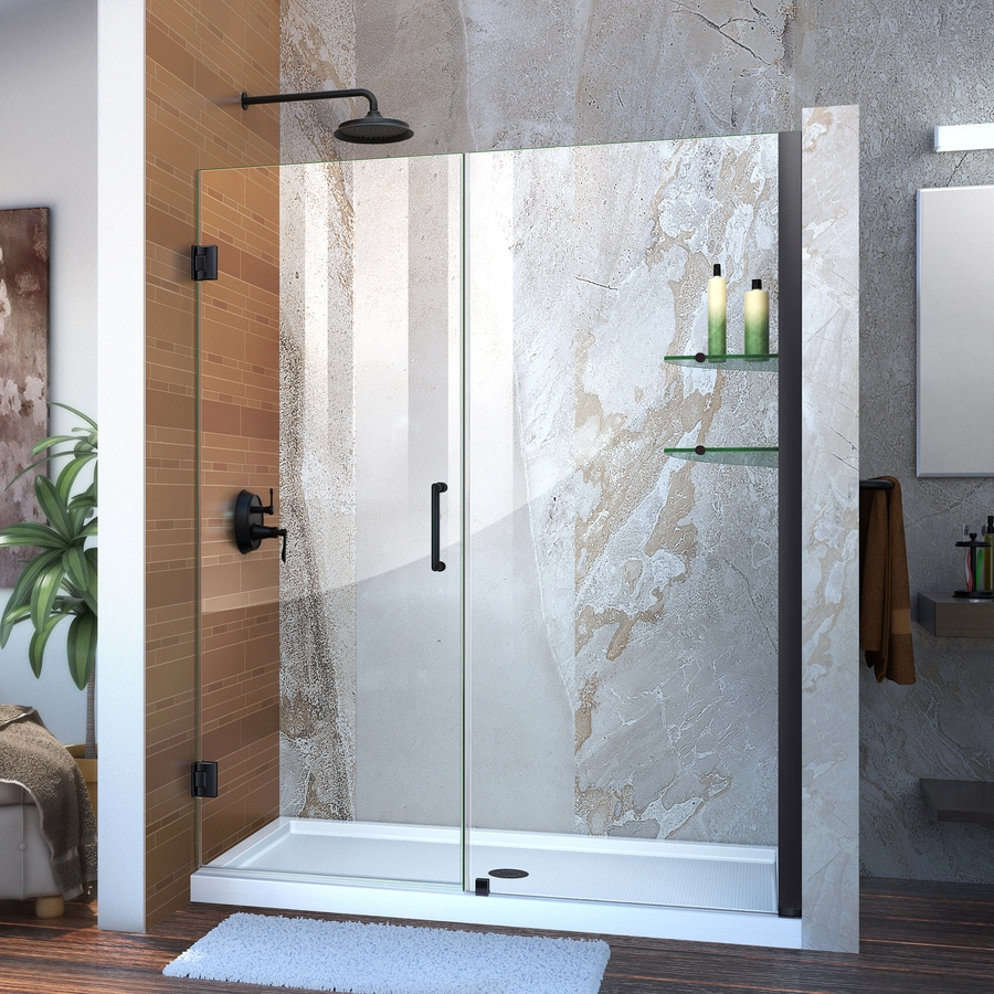 DreamLine Unidoor 58-in to 59-in W Frameless Satin Black Hinged Shower Door