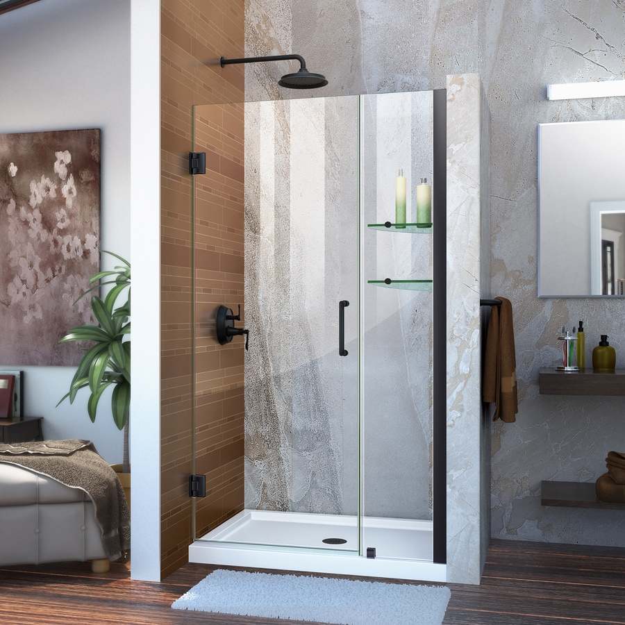 DreamLine Unidoor 40-in to 41-in W Frameless Satin Black Hinged Shower Door