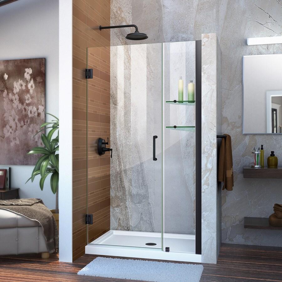 DreamLine Unidoor 42-in to 43-in Frameless Satin Black Hinged Shower Door