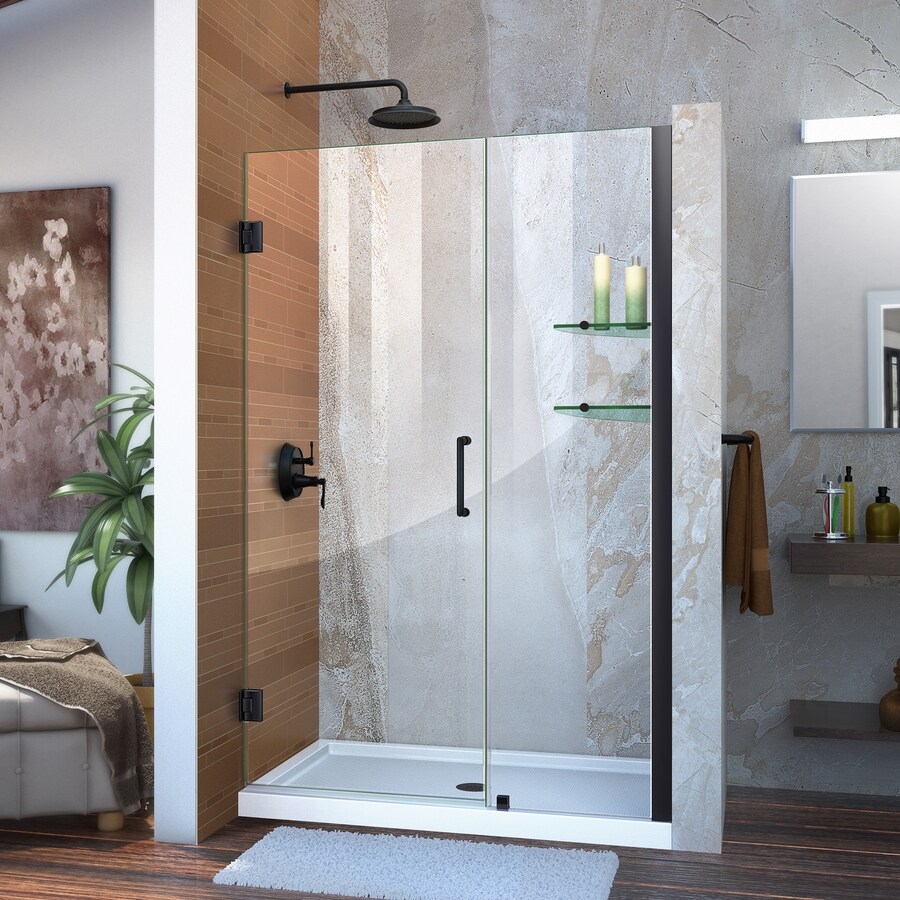 DreamLine Unidoor 47-in to 48-in Frameless Satin Black Hinged Shower Door