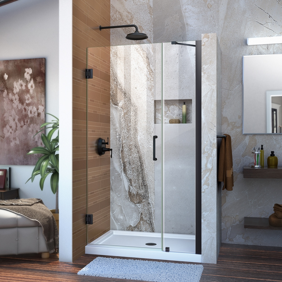 DreamLine Unidoor 43-in to 43-in W Frameless Satin Black Hinged Shower Door