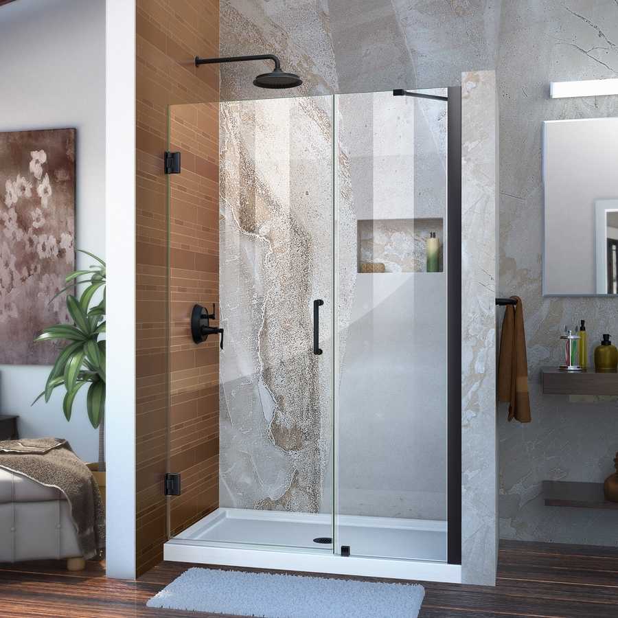 DreamLine Unidoor 43-in to 44-in Frameless Satin Black Hinged Shower Door